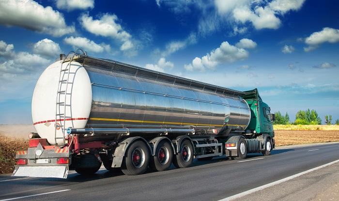 Gasoline tanker for leak test.